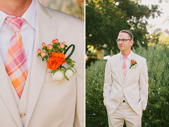 orange, peach, pink and cream groom looks