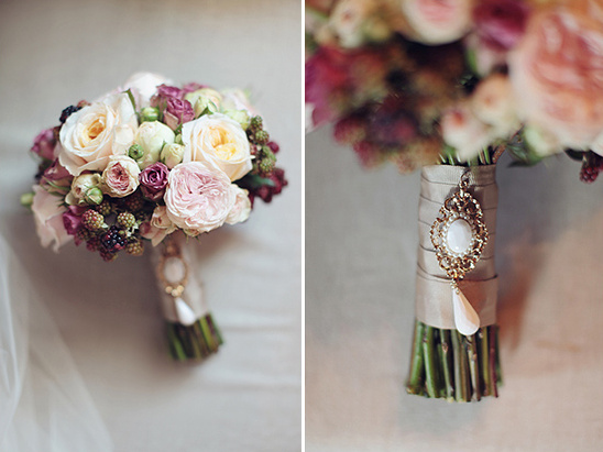 vintage brooch on wedding bouquet
