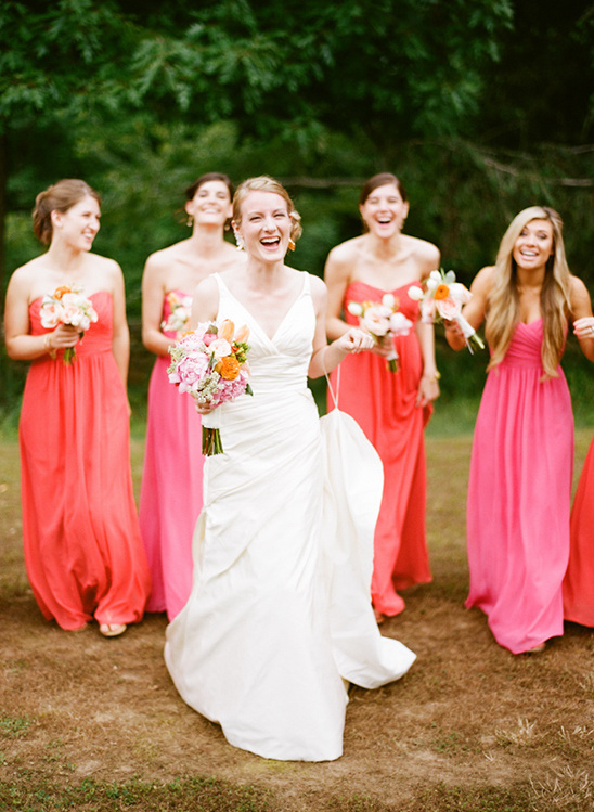bright red bridesmaid dresses