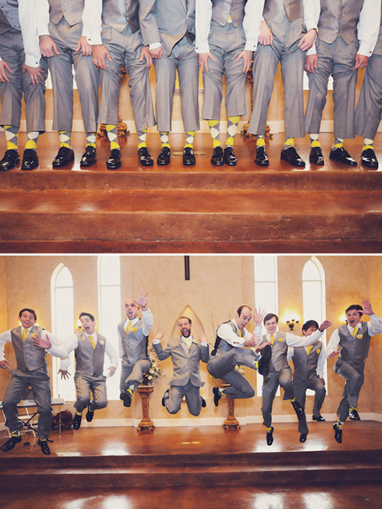 yellow and gray groomsman