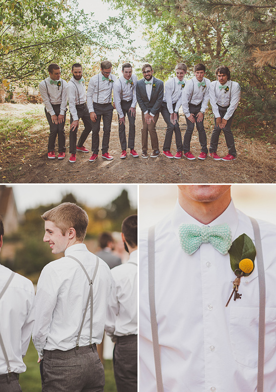groomsman in bow ties and suspenders