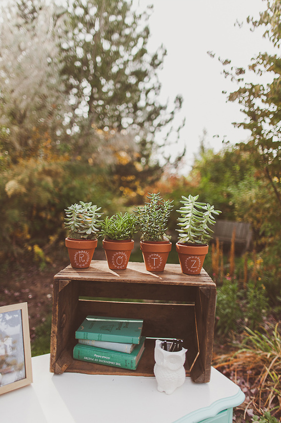 Hand Painted Pots With Succulents. Backyard Wedding Ceremony Ideas