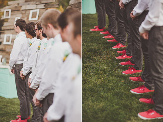 groomsmen in red vans