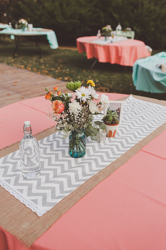 chevron stripe table runner edged with lace