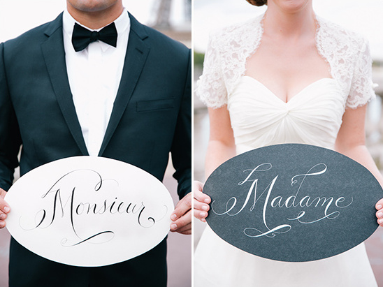 monsieur and madame wedding signs