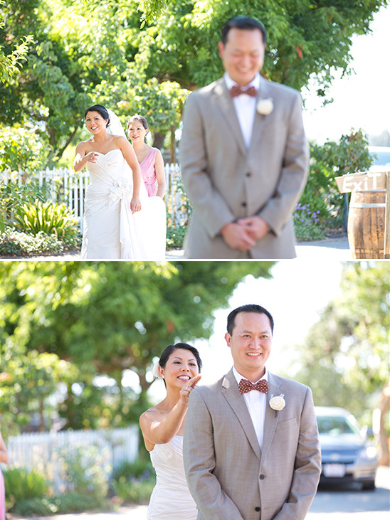 wedding first look captured by Diane Marie Photography