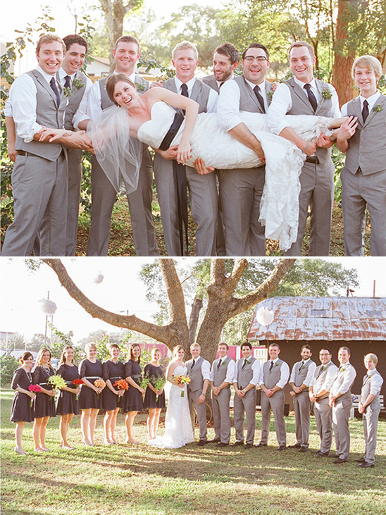 gray and black wedding party