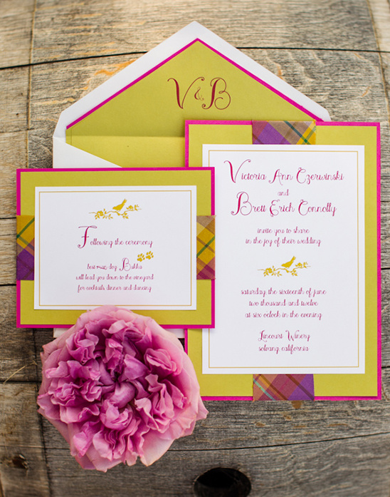 purple and pink wedding invites