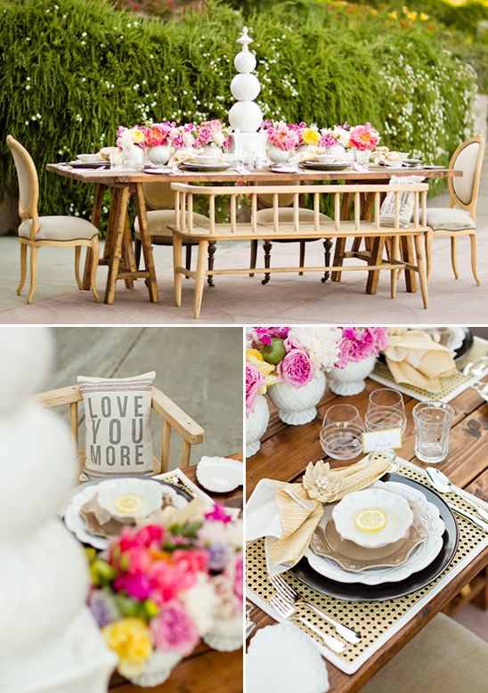 colorful and rustic table decor