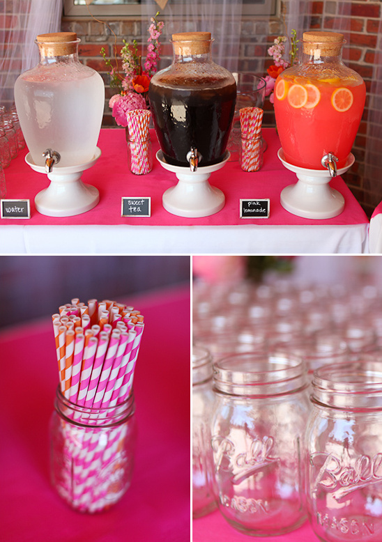 pink and orange drink table