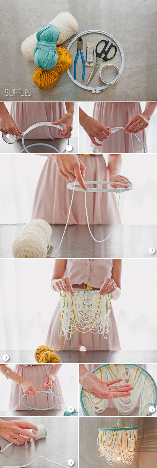 blog diy yarn chandelier. Black Bedroom Furniture Sets. Home Design Ideas