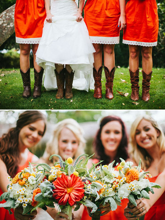 rustic orange bridesmaid dresses