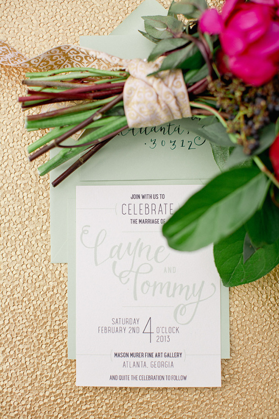 mint green wedding invite