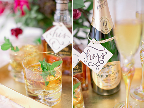 wedding labels for his and her drinks