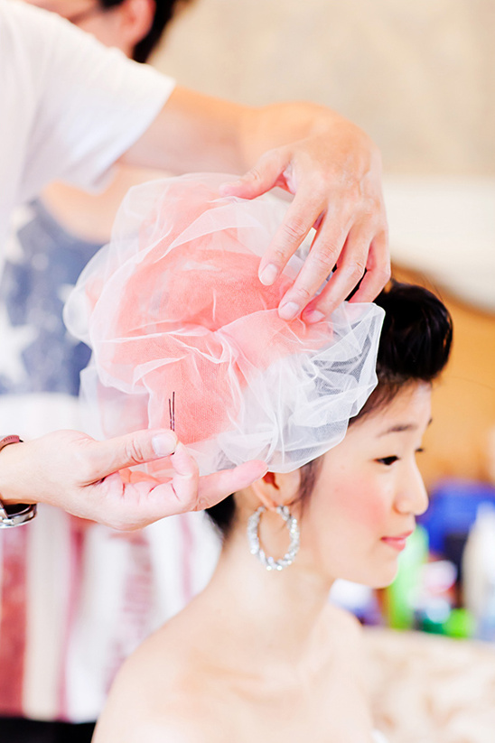 pink wedding fascinator