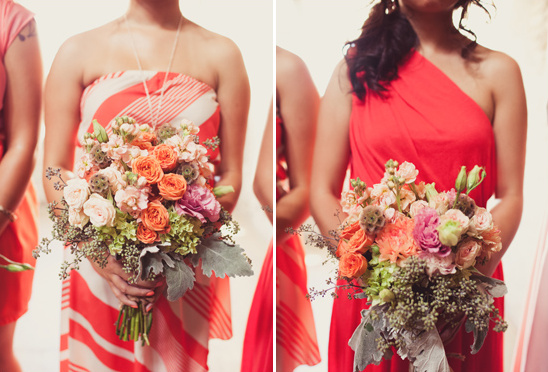 pink and peach bridesmaid dresses