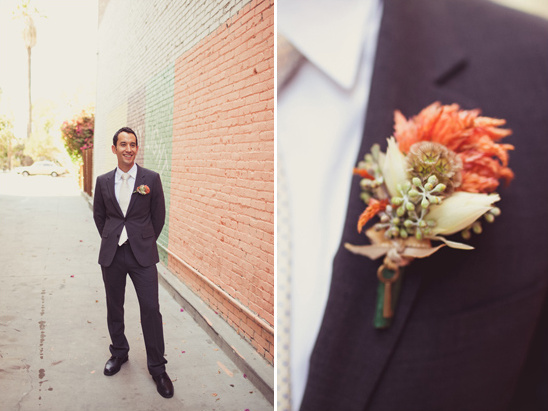 pink and peach boutonniere