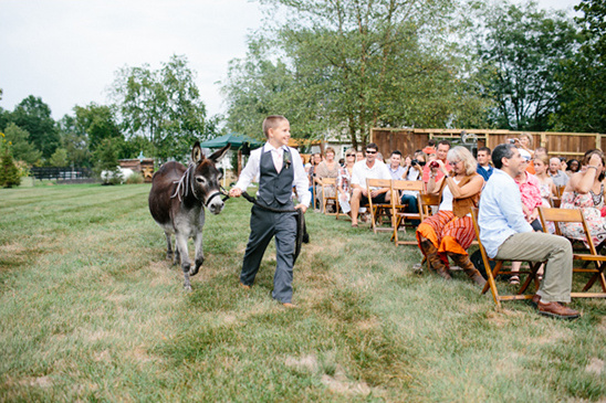 ring bearer walking down the aisle with donkey