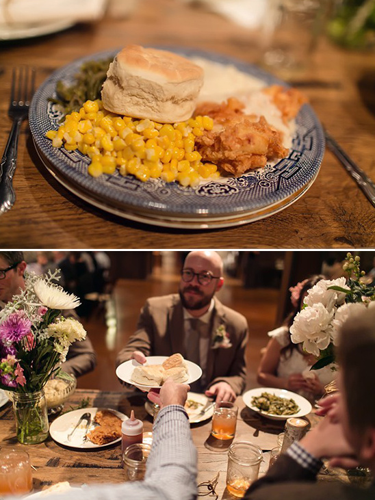 family style wedding dinner catered by Dad and Daughter's Divine Catering