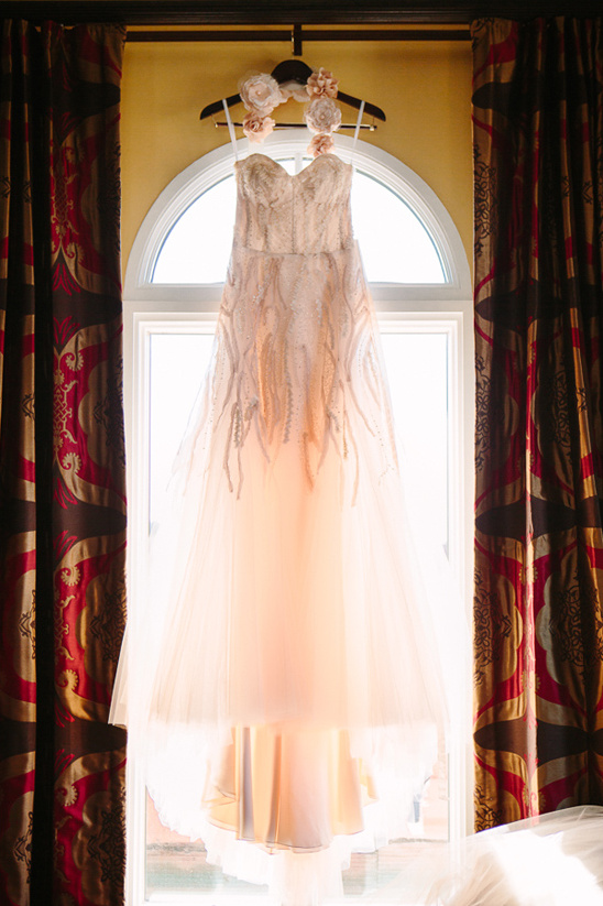 pink wedding dress by Monique Lhuillier