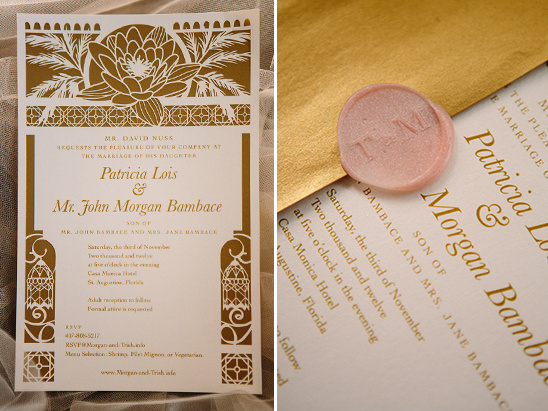 gold and white wedding invites by Woodland Papercuts