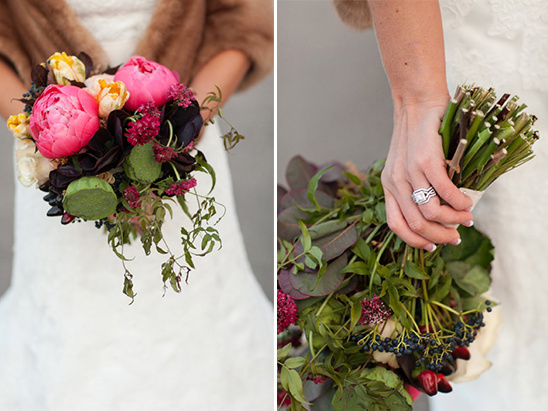 succulent and peonies wedding bouquet