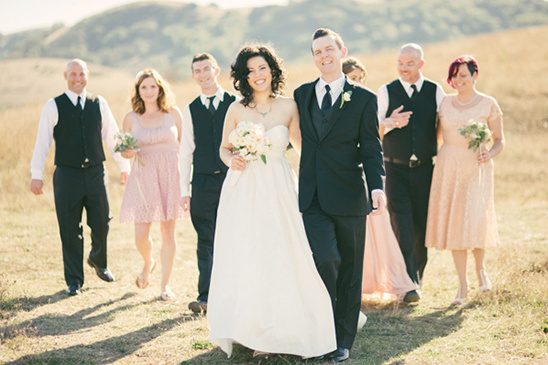 black and peach bridal party
