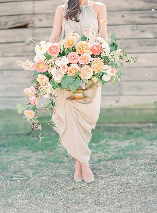 peach wedding florals designed by Fern Studios