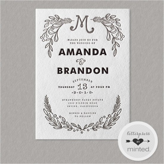letter press wedding invites