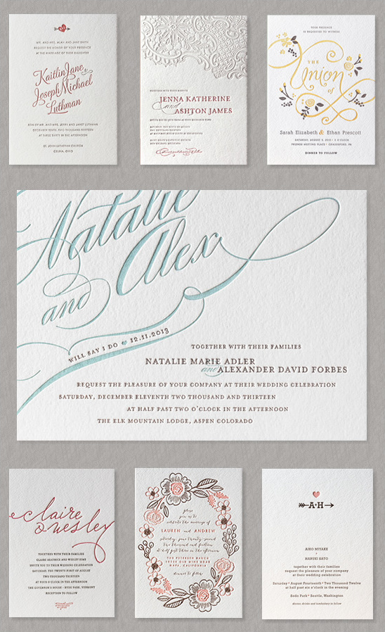 minted letter press invites