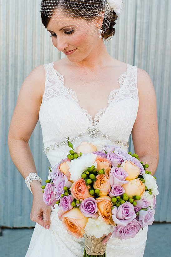 peach and purple bridal bouquet by Vaughn Floral Design