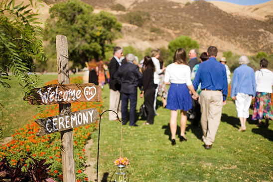 rustic handpainted wood ceremony sign