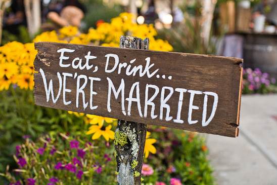 handpainted wood Eat, Drink...We're Married sign