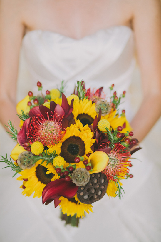 yellow and red bridal bouquet by Mid Valley Florist