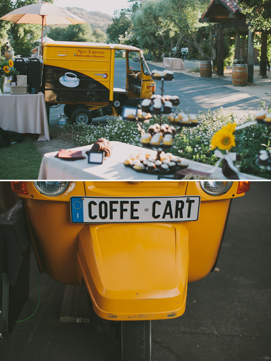 coffee cart at outdoor reception