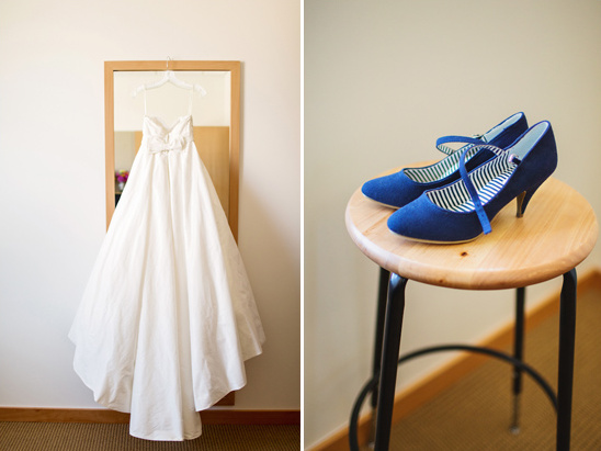 dress by Galina Couture and blue shoes by B.A.I.T. Footwear