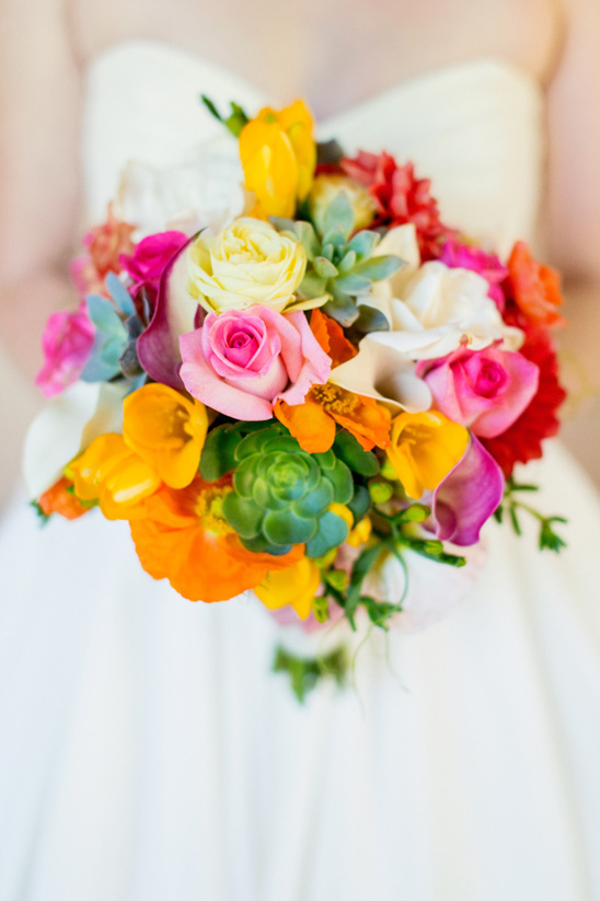 orange, pink and yellow bouquet by Stems Floral