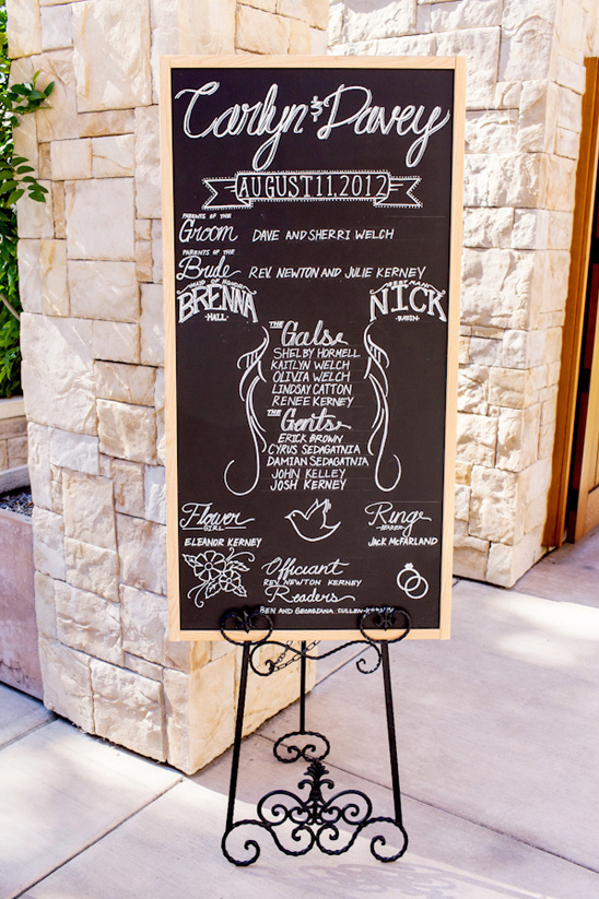 chalkboard wedding party sign
