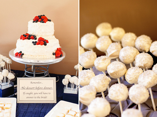 red, white and blue dessert table