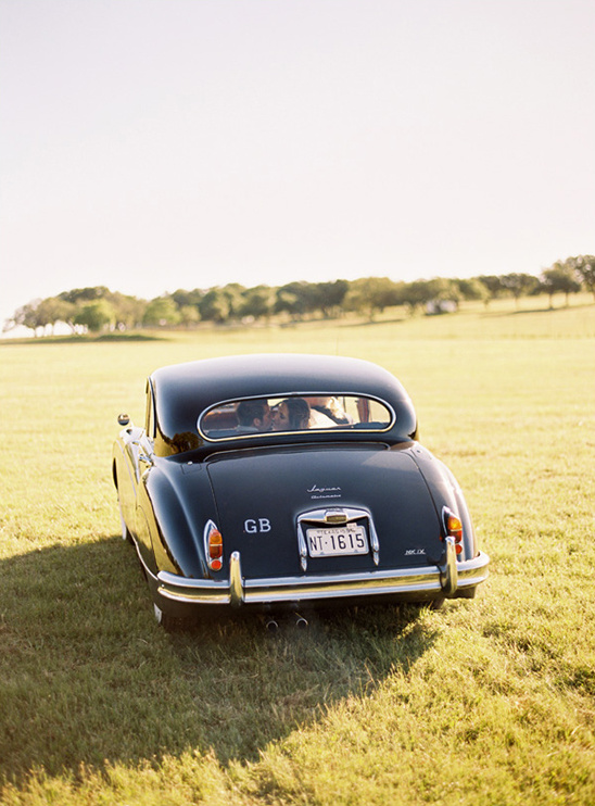 vintage wedding getaway Jaguar from Austin Classic Limo