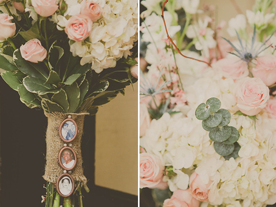 pink wedding bouquet with sentimental bouquet wrap