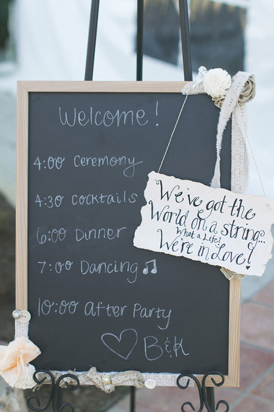 wedding itinerary sign