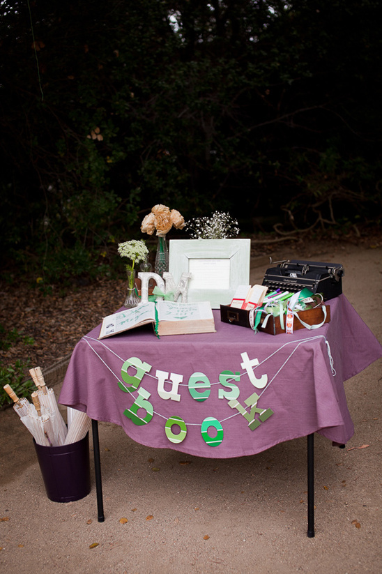 vintage library themed guest book table