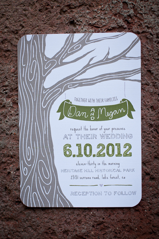 green and brown wedding invite by Blackberry Graphics