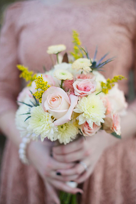 pale pink and yellow bouquet by Lasater Flowers