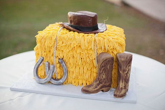 hay bale grooms cake from Cakes by Maggi