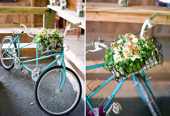 vintage tandem bike at wedding
