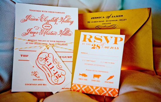 orange and white letterpressed invites by The Happy Envelope