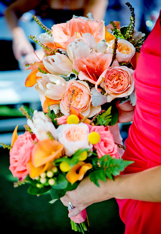 peach, pink and orange bouquets by Jennifer Cole Florals
