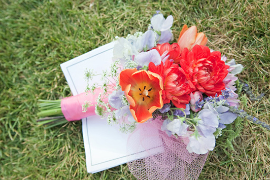 pink, orange and purple bridesmaid bouquet